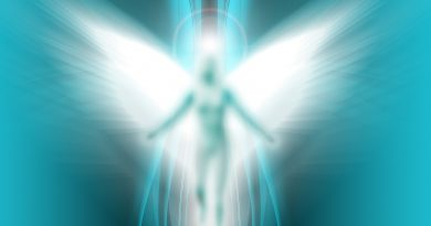 This illustration of an angel is on a soft wavy background giving a feeling of calm.