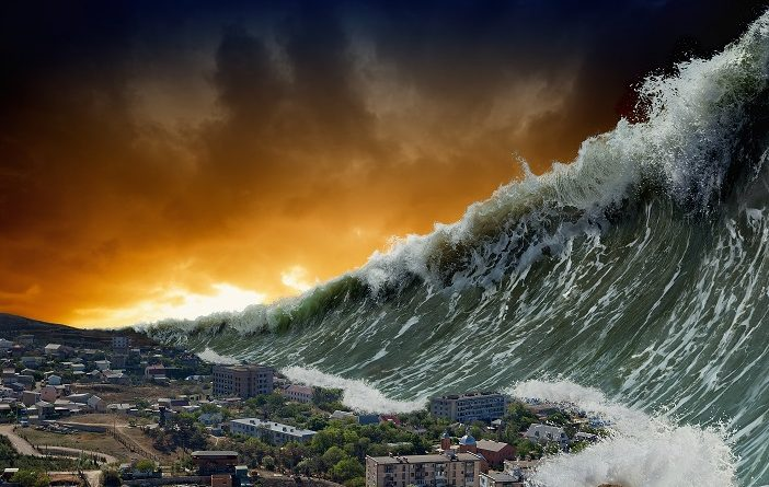 Apocalyptic dramatic background - giant tsunami waves crashing small coastal town