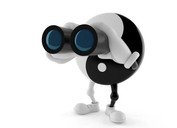 Jing Jang character looking through binoculars isolated on white background. 3d illustration